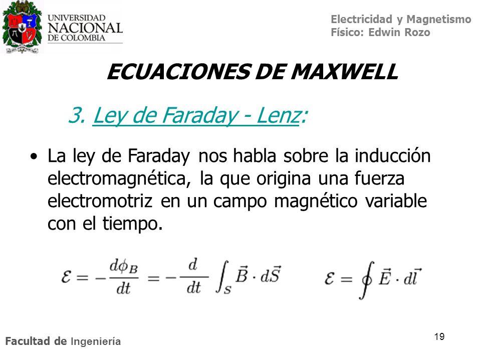 Electricidad y Magnetismo Físico: Edwin Rozo Facultad de Ingeniería 19 ECUACIONES DE MAXWELL 3. Ley de Faraday - Lenz:Ley de Faraday - Lenz La ley de