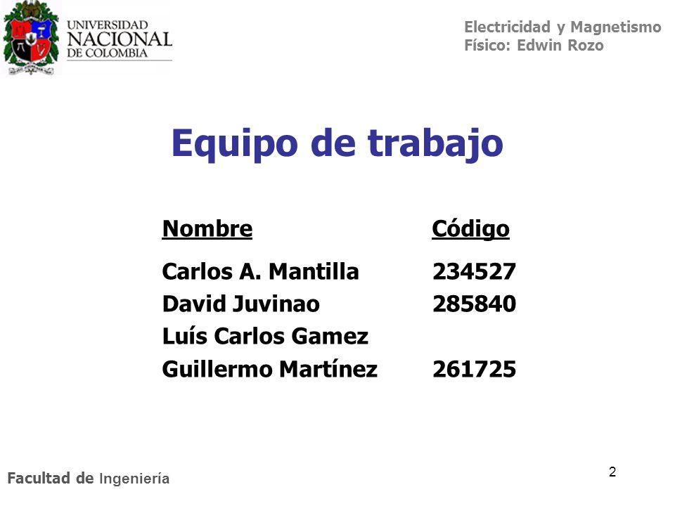 Electricidad y Magnetismo Físico: Edwin Rozo Facultad de Ingeniería 2 Equipo de trabajo NombreCódigo Carlos A. Mantilla234527 David Juvinao 285840 Luí