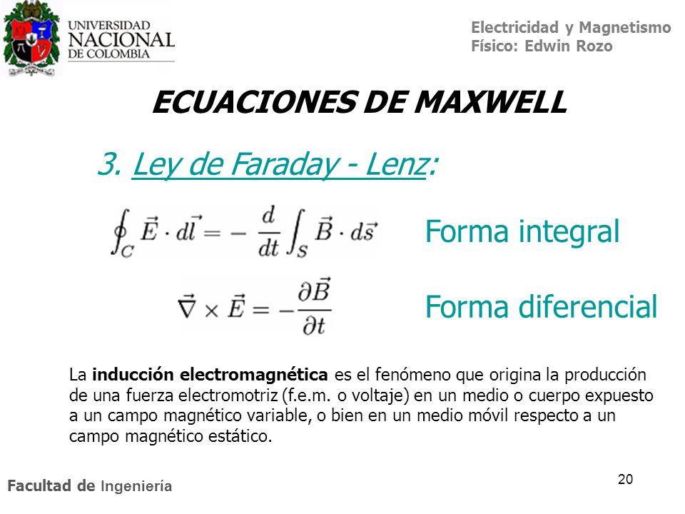 Electricidad y Magnetismo Físico: Edwin Rozo Facultad de Ingeniería 20 ECUACIONES DE MAXWELL 3. Ley de Faraday - Lenz:Ley de Faraday - Lenz Forma inte