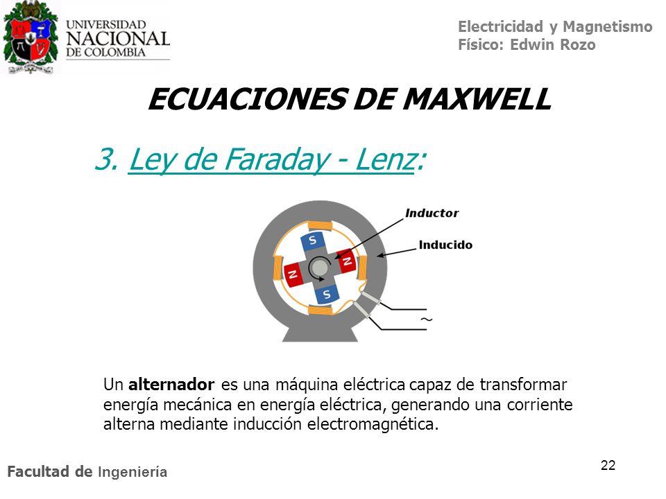 Electricidad y Magnetismo Físico: Edwin Rozo Facultad de Ingeniería 22 ECUACIONES DE MAXWELL Un alternador es una máquina eléctrica capaz de transform