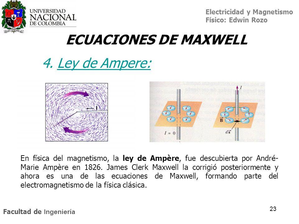 Electricidad y Magnetismo Físico: Edwin Rozo Facultad de Ingeniería 23 ECUACIONES DE MAXWELL 4. Ley de Ampere:Ley de A En física del magnetismo, la le