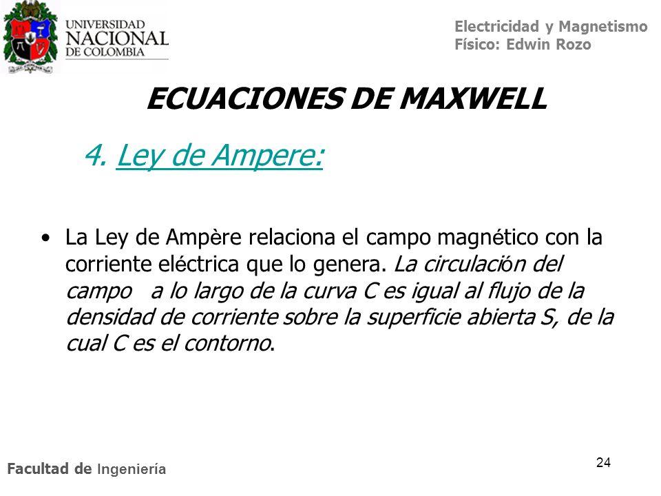 Electricidad y Magnetismo Físico: Edwin Rozo Facultad de Ingeniería 24 ECUACIONES DE MAXWELL La Ley de Amp è re relaciona el campo magn é tico con la