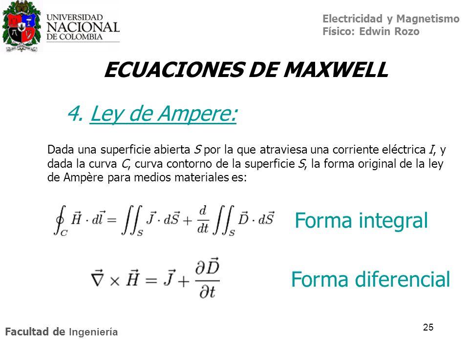 Electricidad y Magnetismo Físico: Edwin Rozo Facultad de Ingeniería 25 ECUACIONES DE MAXWELL Forma integral Forma diferencial Dada una superficie abie