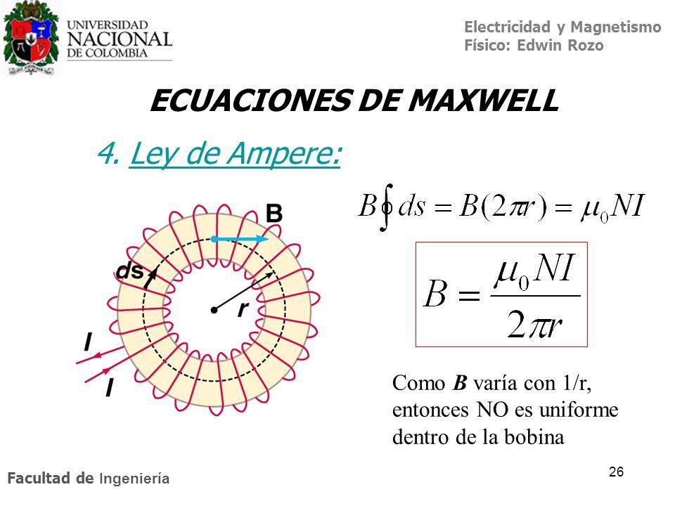 Electricidad y Magnetismo Físico: Edwin Rozo Facultad de Ingeniería 26 ECUACIONES DE MAXWELL 4. Ley de Ampere:Ley de A Como B varía con 1/r, entonces