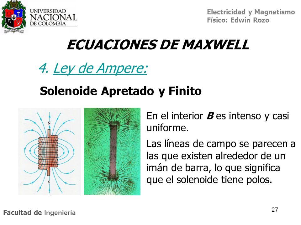 Electricidad y Magnetismo Físico: Edwin Rozo Facultad de Ingeniería 27 ECUACIONES DE MAXWELL 4. Ley de Ampere:Ley de A Solenoide Apretado y Finito En