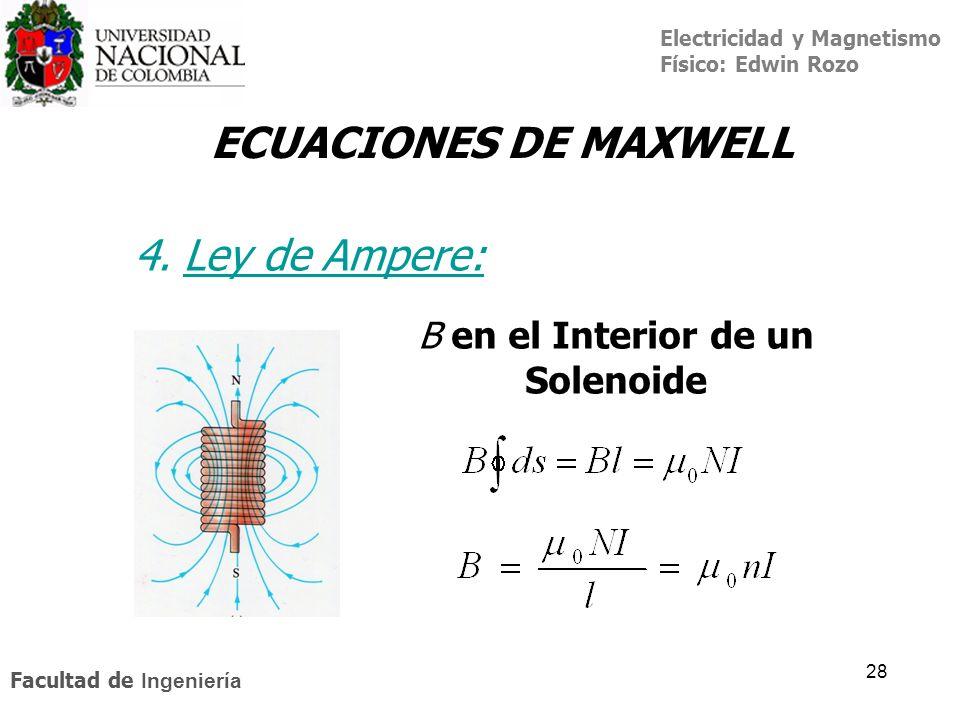 Electricidad y Magnetismo Físico: Edwin Rozo Facultad de Ingeniería 28 ECUACIONES DE MAXWELL 4. Ley de Ampere:Ley de A B en el Interior de un Solenoid
