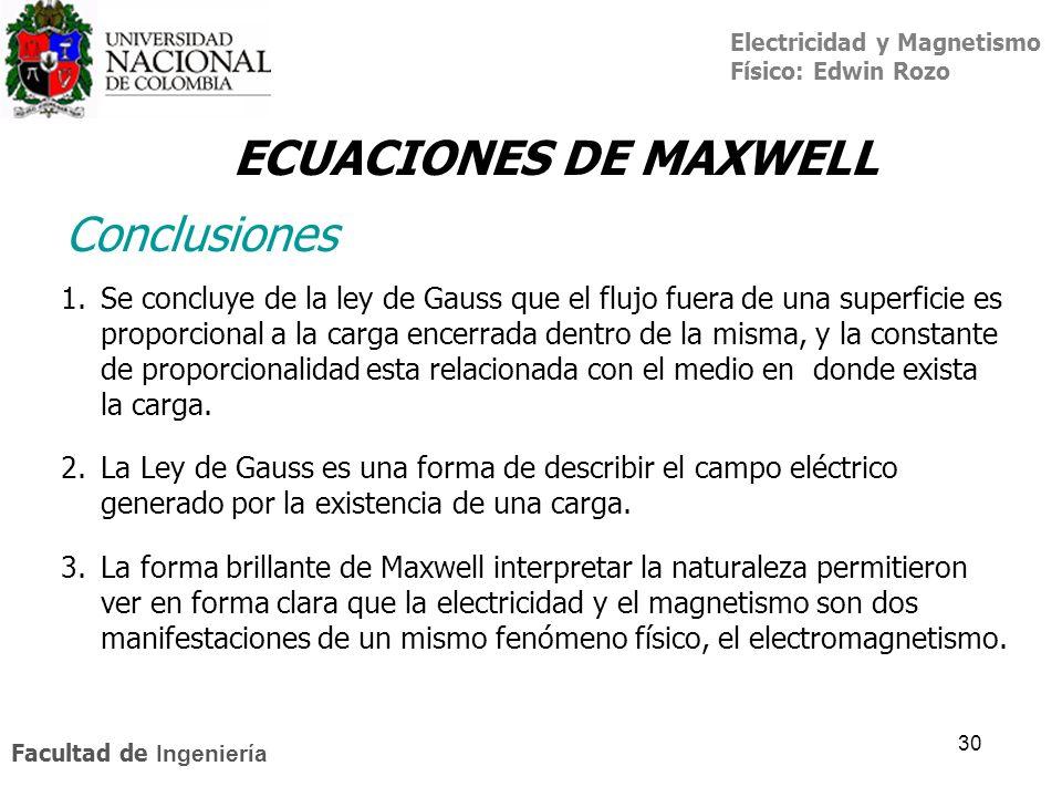 Electricidad y Magnetismo Físico: Edwin Rozo Facultad de Ingeniería 30 ECUACIONES DE MAXWELL Conclusiones 1.Se concluye de la ley de Gauss que el fluj