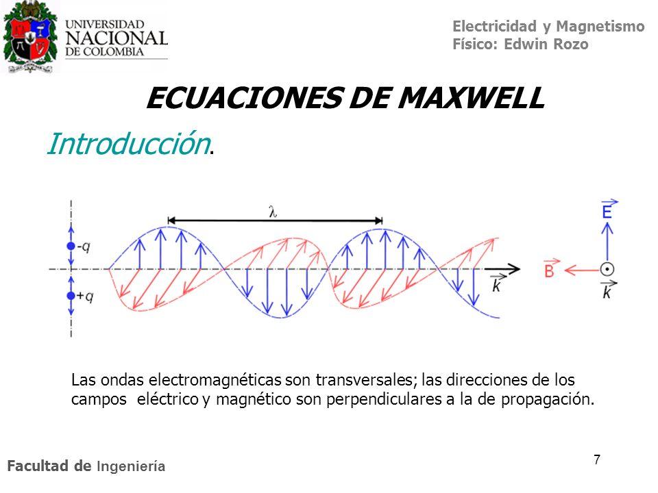 Electricidad y Magnetismo Físico: Edwin Rozo Facultad de Ingeniería 7 Introducción. ECUACIONES DE MAXWELL Las ondas electromagnéticas son transversale
