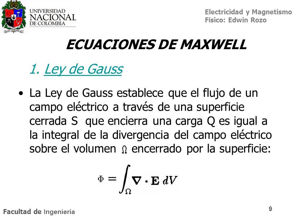 Electricidad y Magnetismo Físico: Edwin Rozo Facultad de Ingeniería 9 La Ley de Gauss establece que el flujo de un campo eléctrico a través de una sup