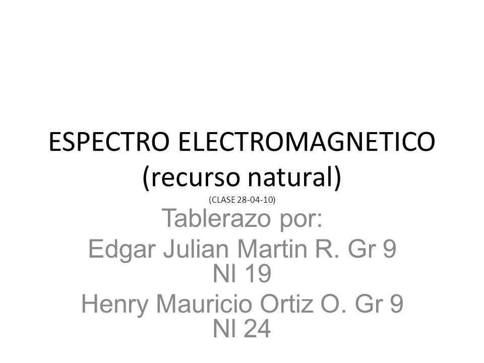 ESPECTRO ELECTROMAGNETICO (recurso natural) (CLASE 28-04-10) Tablerazo por: Edgar Julian Martin R. Gr 9 Nl 19 Henry Mauricio Ortiz O. Gr 9 Nl 24