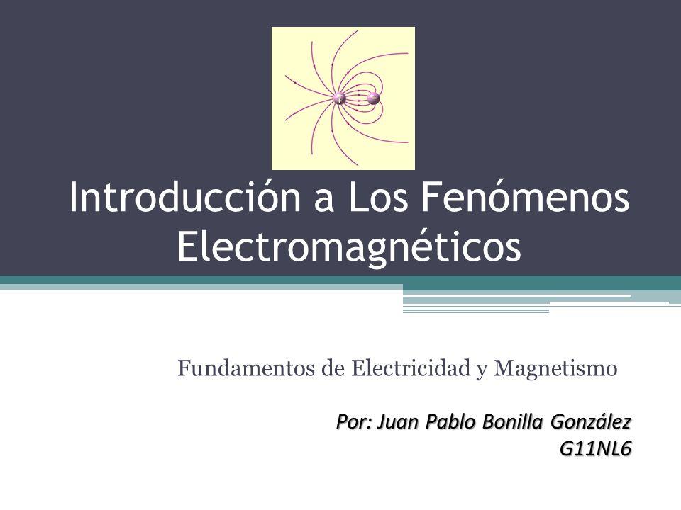 Introducción a Los Fenómenos Electromagnéticos Fundamentos de Electricidad y Magnetismo Por: Juan Pablo Bonilla González G11NL6 G11NL6