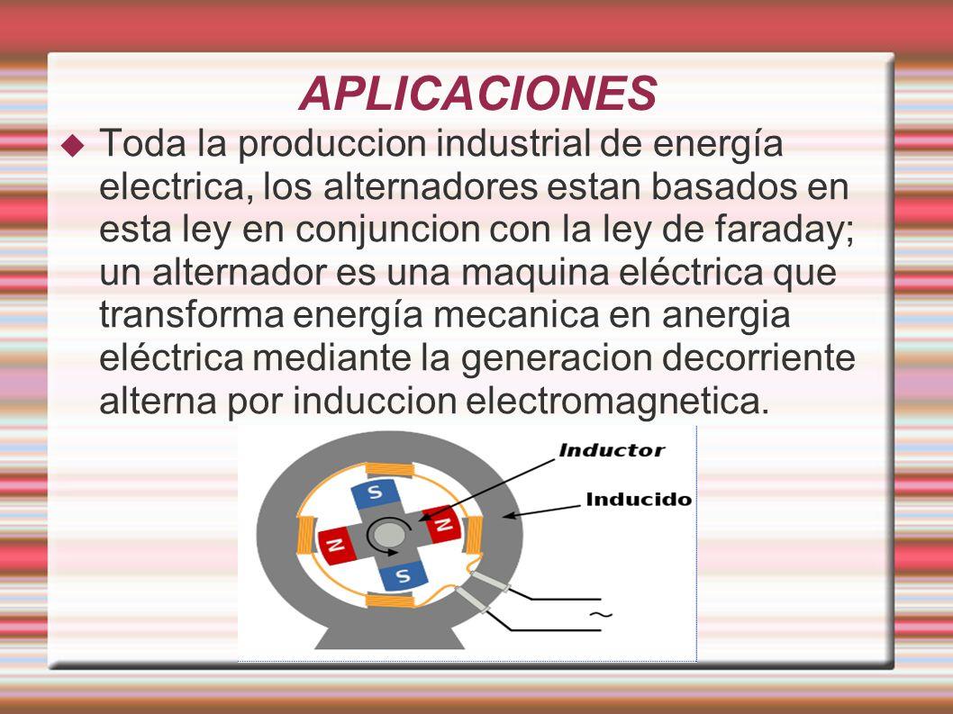APLICACIONES Toda la produccion industrial de energía electrica, los alternadores estan basados en esta ley en conjuncion con la ley de faraday; un al