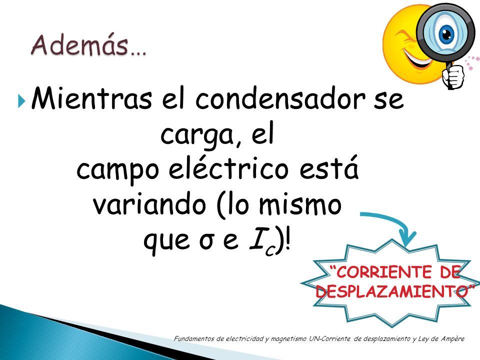 Mientras el condensador se carga, el campo eléctrico está variando (lo mismo que σ e I c )! Fundamentos de electricidad y magnetismo UN-Corriente de d