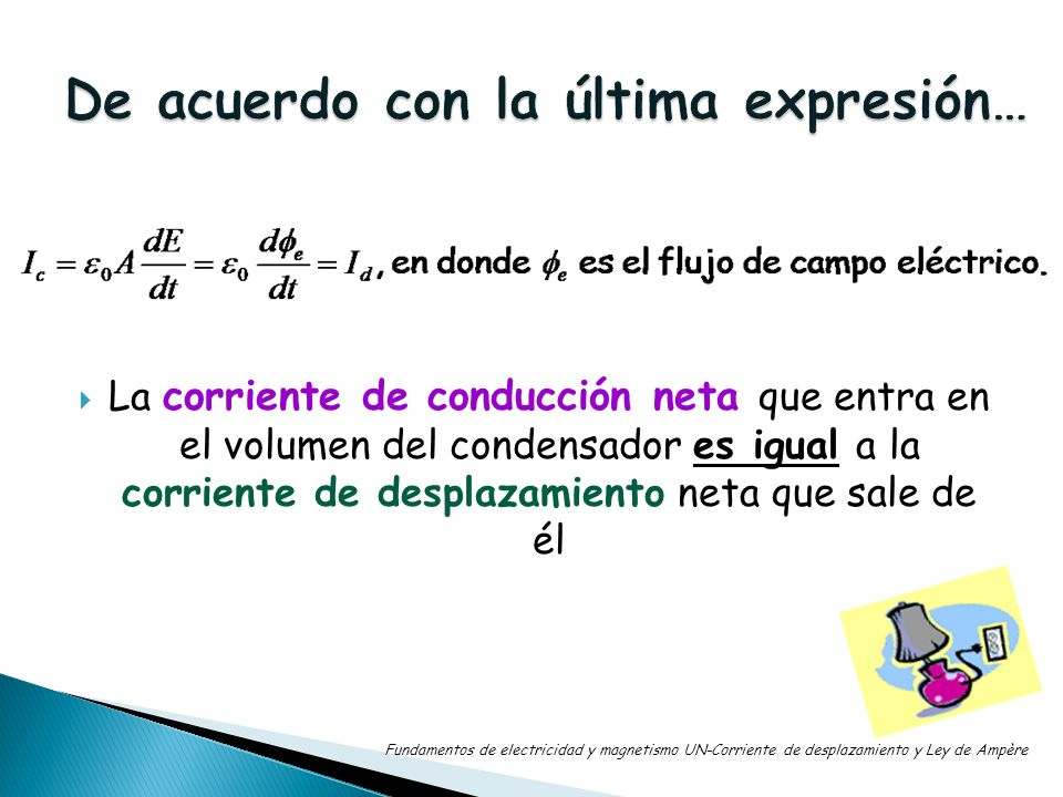 La corriente de conducción neta que entra en el volumen del condensador es igual a la corriente de desplazamiento neta que sale de él Fundamentos de e