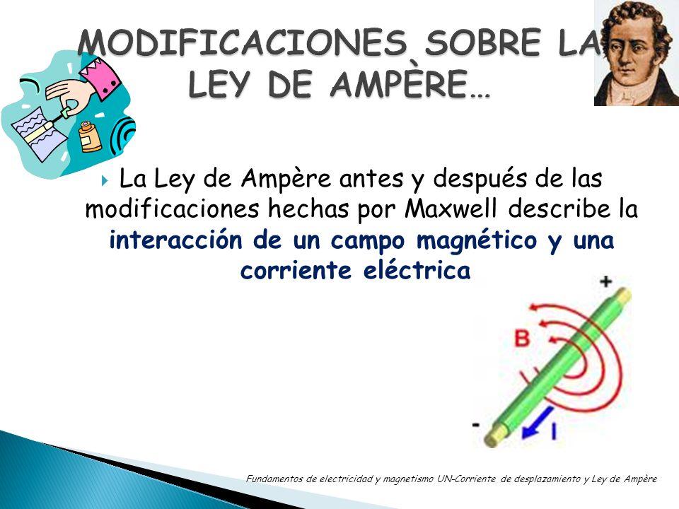 La Ley de Ampère antes y después de las modificaciones hechas por Maxwell describe la interacción de un campo magnético y una corriente eléctrica. Fun
