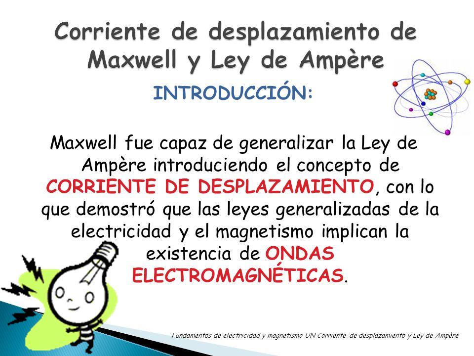 INTRODUCCIÓN: Maxwell fue capaz de generalizar la Ley de Ampère introduciendo el concepto de CORRIENTE DE DESPLAZAMIENTO, con lo que demostró que las