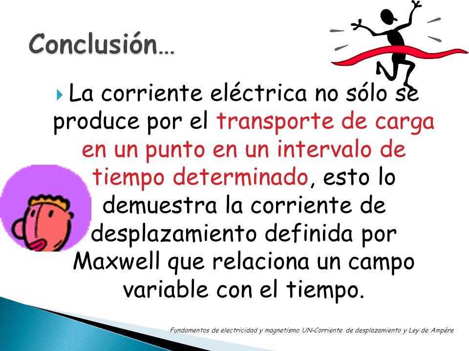 La corriente eléctrica no sólo se produce por el transporte de carga en un punto en un intervalo de tiempo determinado, esto lo demuestra la corriente