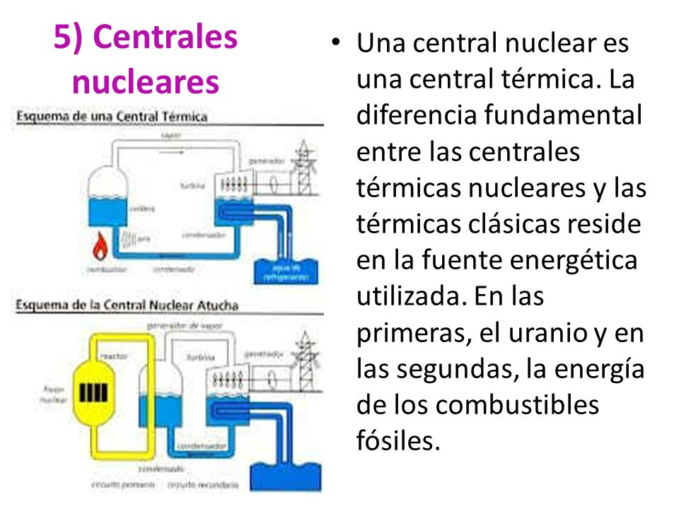 5) Centrales nucleares Una central nuclear es una central térmica. La diferencia fundamental entre las centrales térmicas nucleares y las térmicas clá