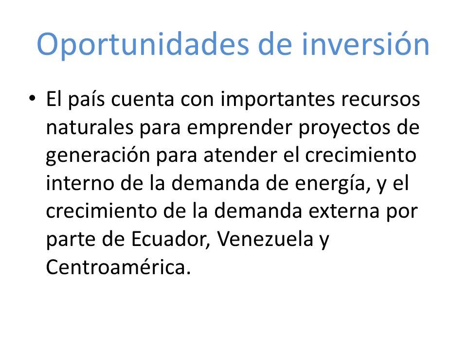 Oportunidades de inversión El país cuenta con importantes recursos naturales para emprender proyectos de generación para atender el crecimiento intern