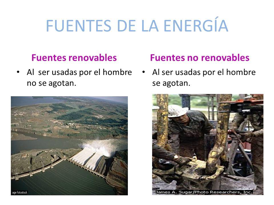 FUENTES DE LA ENERGÍA Fuentes renovables Al ser usadas por el hombre no se agotan. Fuentes no renovables Al ser usadas por el hombre se agotan.