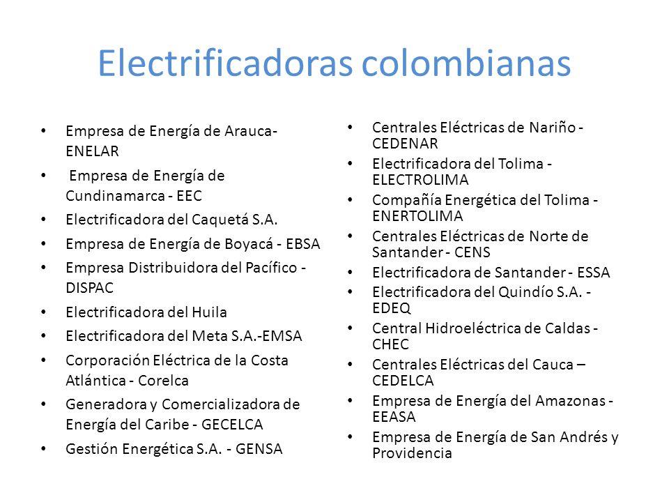 Electrificadoras colombianas Empresa de Energía de Arauca- ENELAR Empresa de Energía de Cundinamarca - EEC Electrificadora del Caquetá S.A. Empresa de