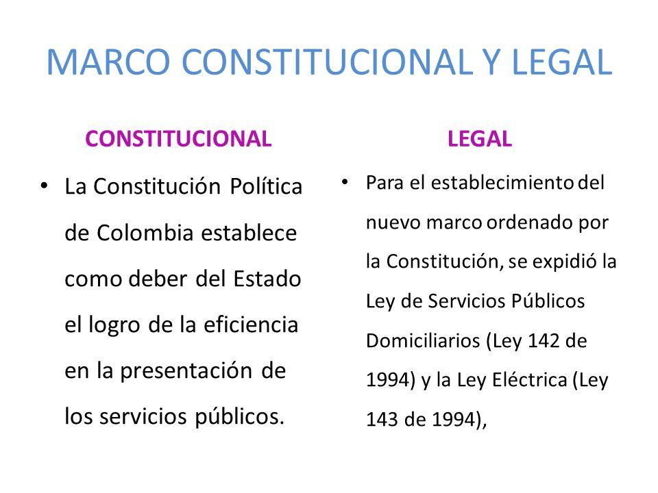 MARCO CONSTITUCIONAL Y LEGAL CONSTITUCIONAL La Constitución Política de Colombia establece como deber del Estado el logro de la eficiencia en la prese