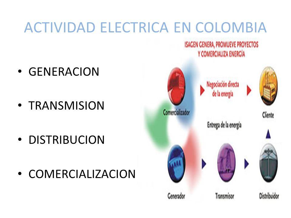 ACTIVIDAD ELECTRICA EN COLOMBIA GENERACION TRANSMISION DISTRIBUCION COMERCIALIZACION