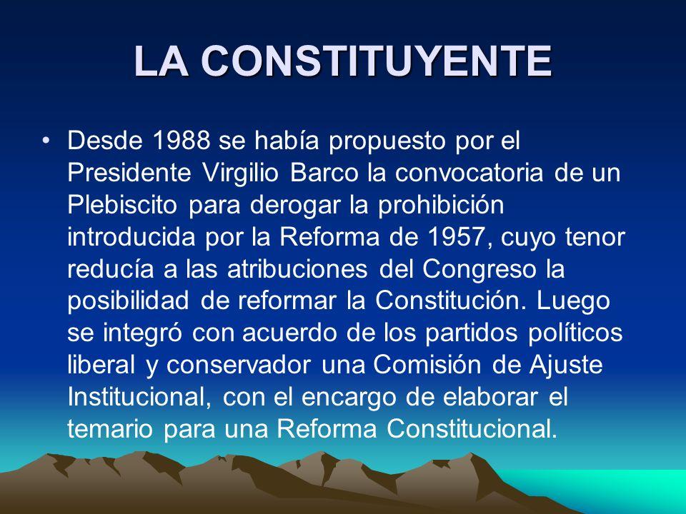 LA CONSTITUYENTE Desde 1988 se había propuesto por el Presidente Virgilio Barco la convocatoria de un Plebiscito para derogar la prohibición introduci