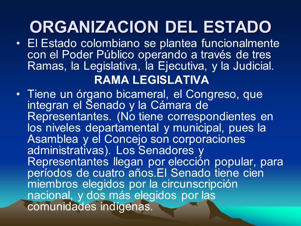 ORGANIZACION DEL ESTADO El Estado colombiano se plantea funcionalmente con el Poder Público operando a través de tres Ramas, la Legislativa, la Ejecut