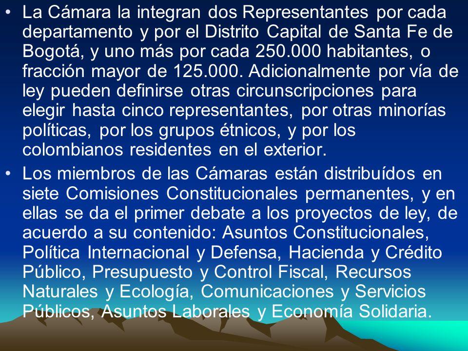 La Cámara la integran dos Representantes por cada departamento y por el Distrito Capital de Santa Fe de Bogotá, y uno más por cada 250.000 habitantes,