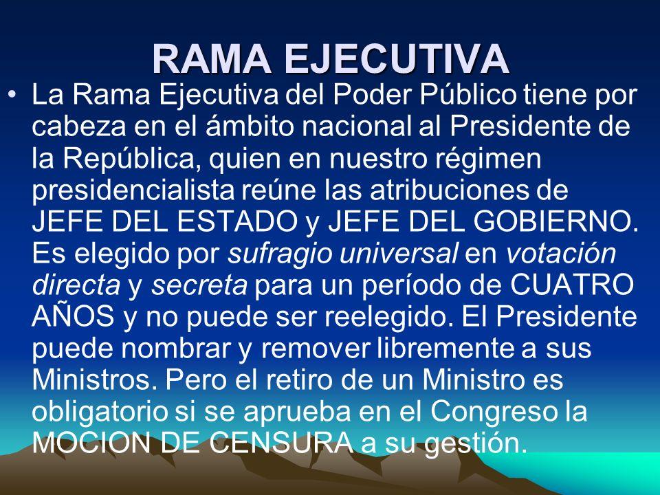 RAMA EJECUTIVA La Rama Ejecutiva del Poder Público tiene por cabeza en el ámbito nacional al Presidente de la República, quien en nuestro régimen pres