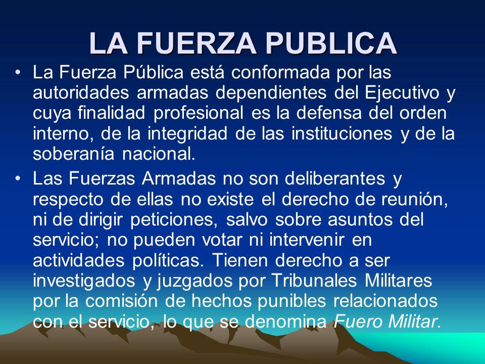LA FUERZA PUBLICA La Fuerza Pública está conformada por las autoridades armadas dependientes del Ejecutivo y cuya finalidad profesional es la defensa