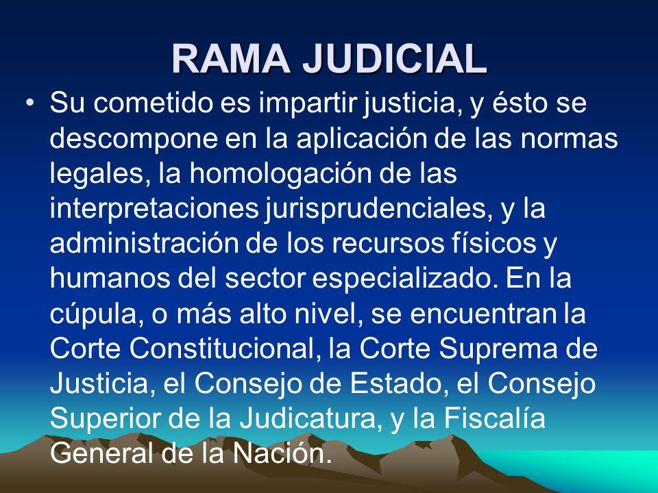 RAMA JUDICIAL Su cometido es impartir justicia, y ésto se descompone en la aplicación de las normas legales, la homologación de las interpretaciones j