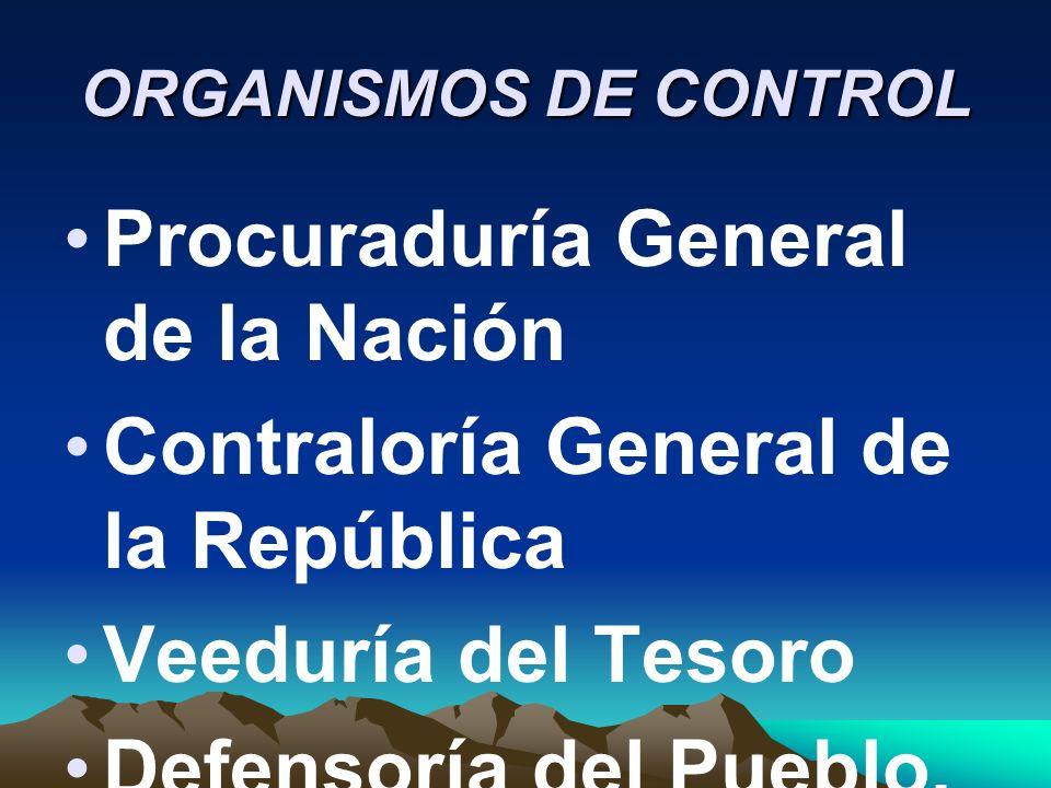 ORGANISMOS DE CONTROL Procuraduría General de la Nación Contraloría General de la República Veeduría del Tesoro Defensoría del Pueblo,