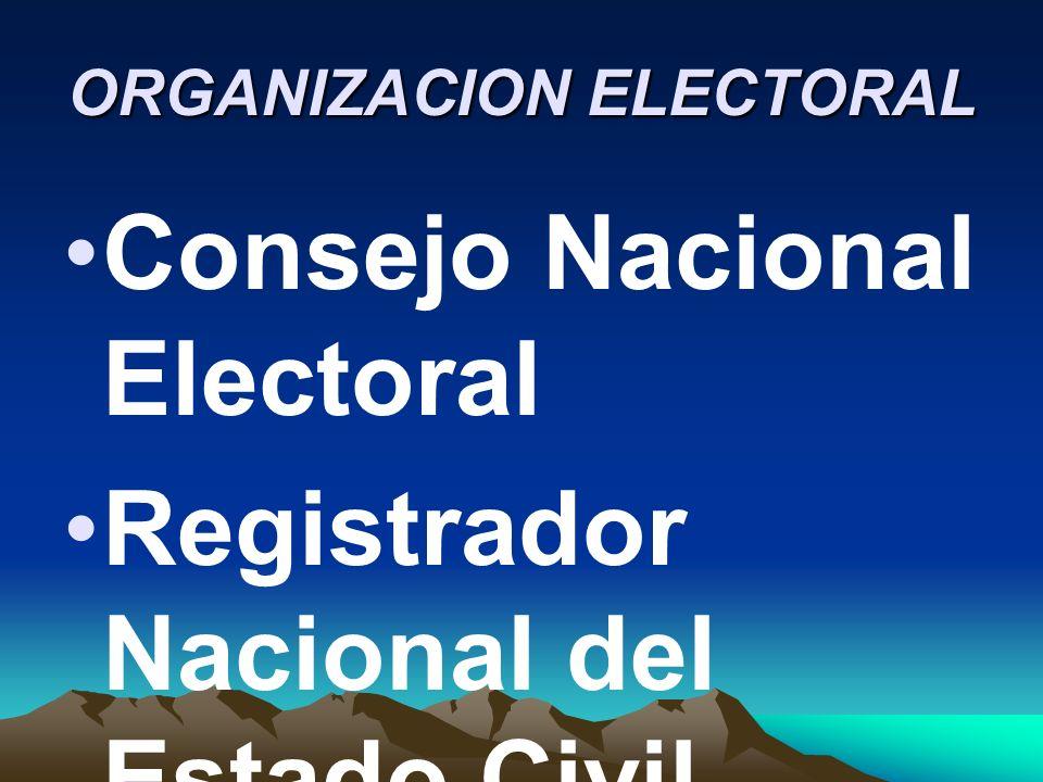 ORGANIZACION ELECTORAL Consejo Nacional Electoral Registrador Nacional del Estado Civil