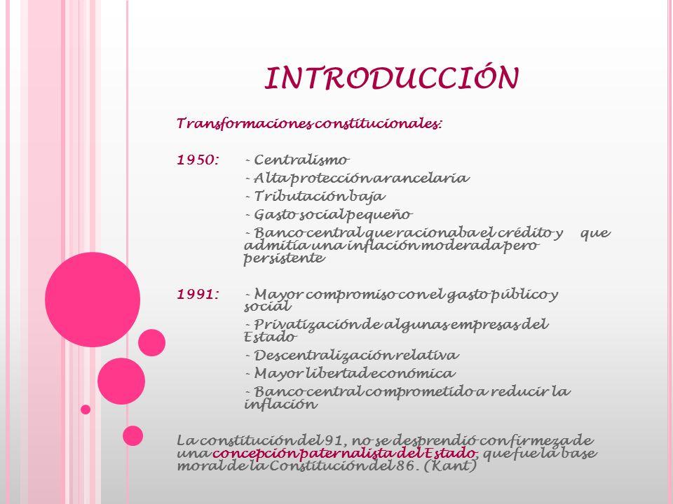 SISTEMA ECONÓMICO EN LA CONSTITUCION DE 1991 Constitución y Modelo Económico