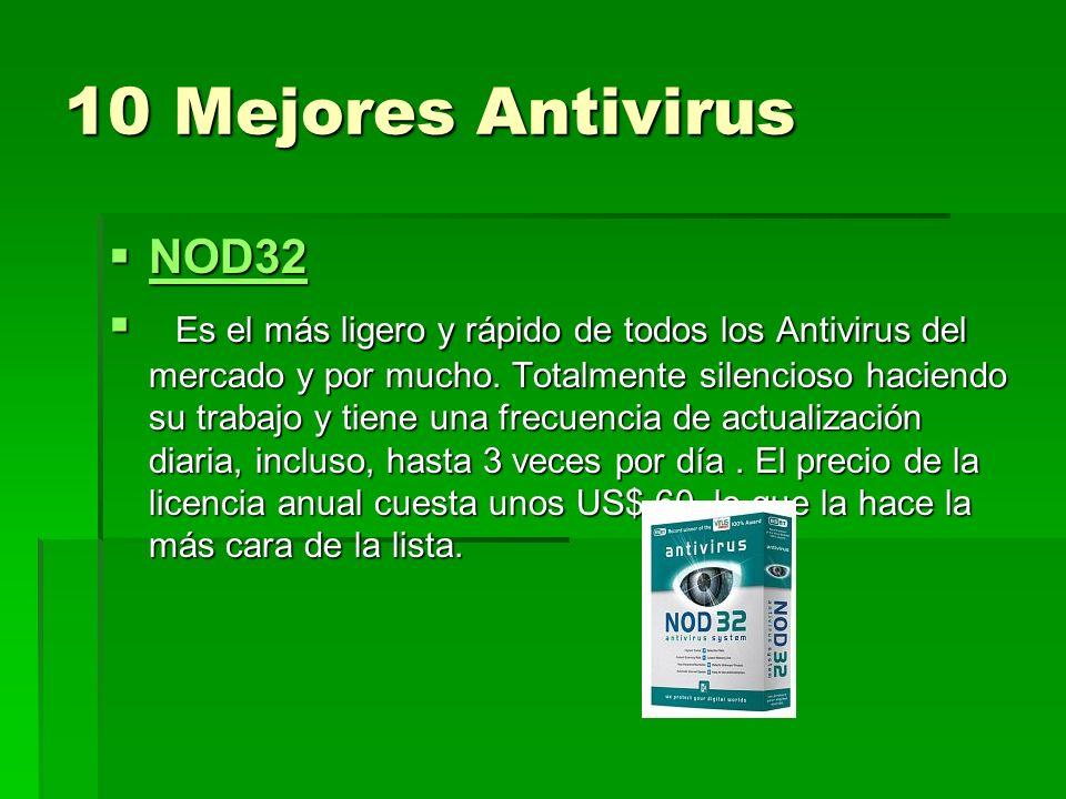 10 Mejores Antivirus NOD32 NOD32 NOD32 Es el más ligero y rápido de todos los Antivirus del mercado y por mucho. Totalmente silencioso haciendo su tra