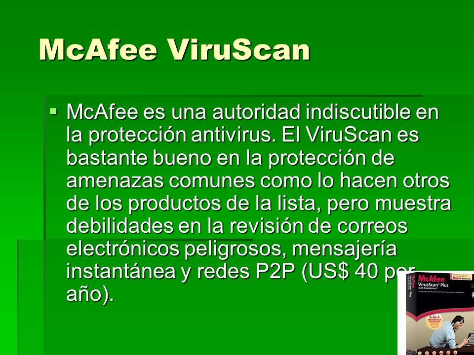 McAfee ViruScan McAfee ViruScan McAfee es una autoridad indiscutible en la protección antivirus. El ViruScan es bastante bueno en la protección de ame