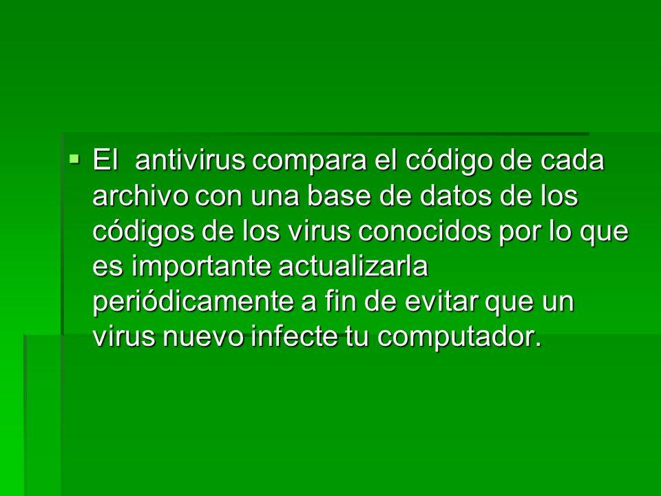 Funciones de un antivirus Un antivirus tiene tres principales funciones y componentes: Un antivirus tiene tres principales funciones y componentes: VACUNA es un programa que instalado residente en la memoria, actúa como filtro de los programas que son ejecutados, abiertos para ser leídos o copiados, en tiempo real.