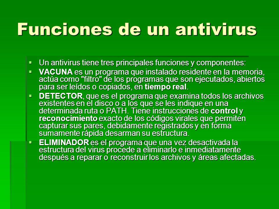 Funciones de un antivirus Un antivirus tiene tres principales funciones y componentes: Un antivirus tiene tres principales funciones y componentes: VA