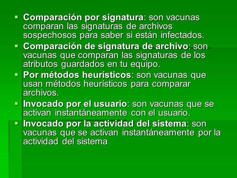 Comparación por signatura: son vacunas comparan las signaturas de archivos sospechosos para saber si están infectados. Comparación por signatura: son