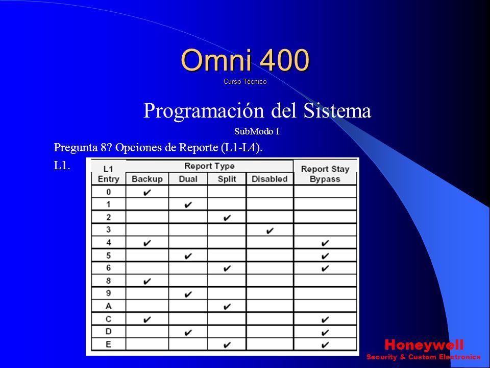 Programación del Sistema SubModo 1 Pregunta 7 ? L2\L4 Tipo de Central Receptora. Omni 400 Curso Técnico Honeywell Security & Custom Electronics