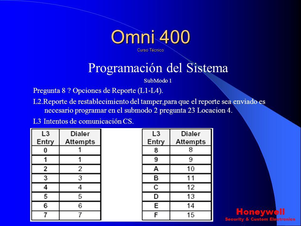Programación del Sistema SubModo 1 Pregunta 8? Opciones de Reporte (L1-L4). L1. Omni 400 Curso Técnico Honeywell Security & Custom Electronics