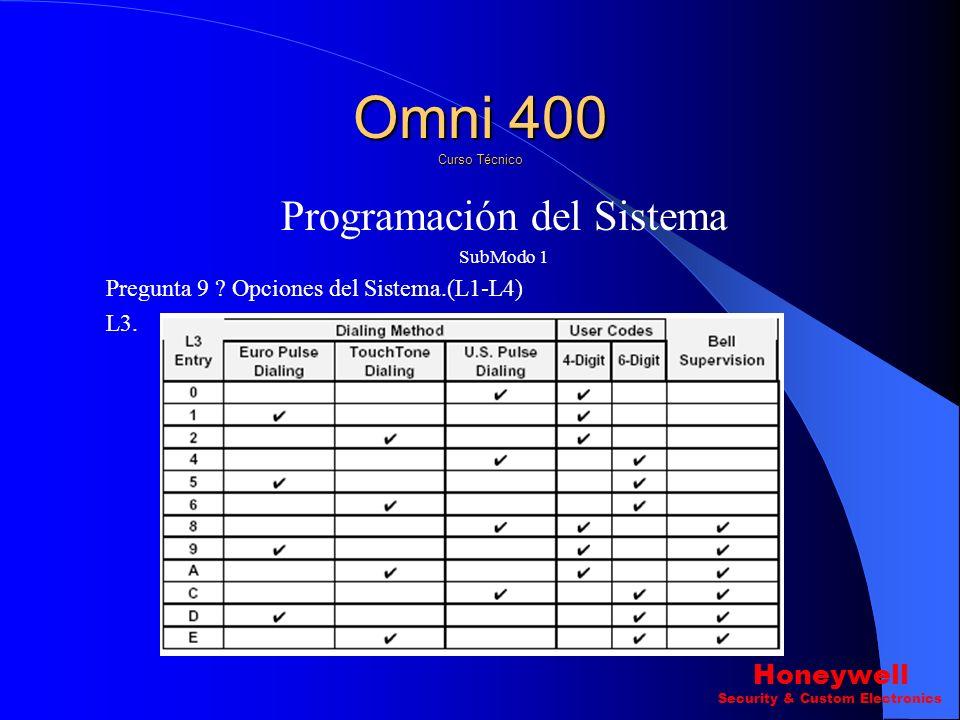 Programación del Sistema SubModo 1 Pregunta 9 ? Opciones del Sistema.(L1-L4) L1 L2 Omni 400 Curso Técnico Honeywell Security & Custom Electronics