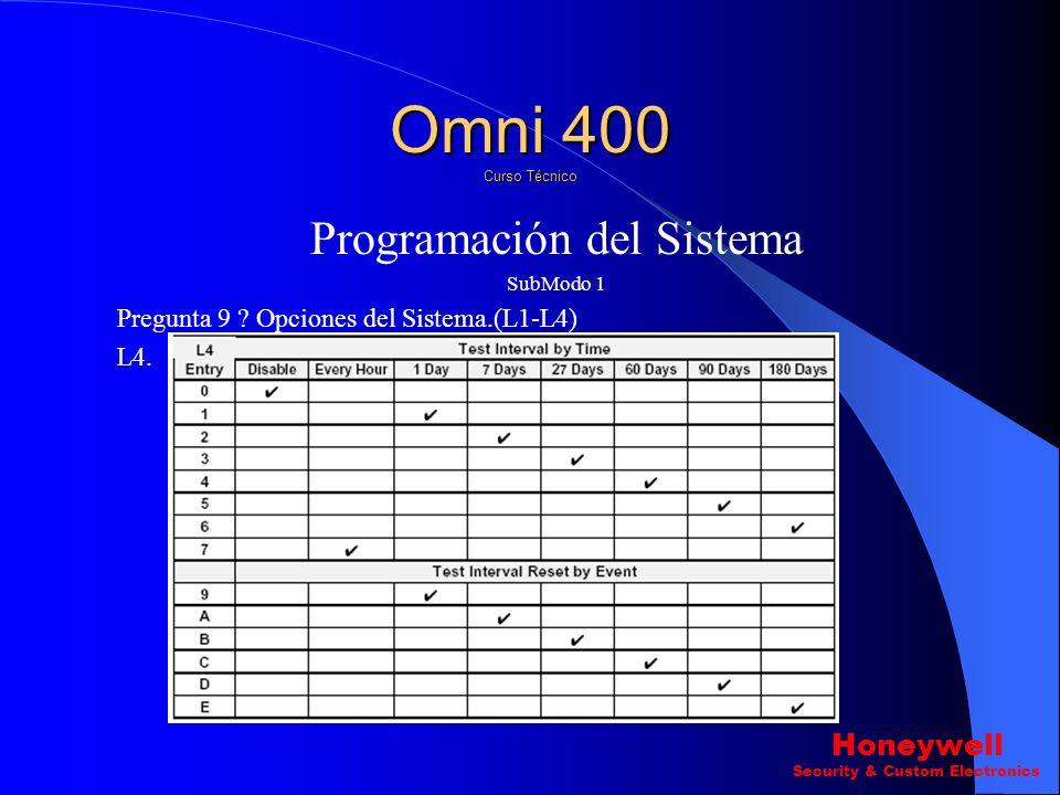 Programación del Sistema SubModo 1 Pregunta 9 ? Opciones del Sistema.(L1-L4) L3. Omni 400 Curso Técnico Honeywell Security & Custom Electronics