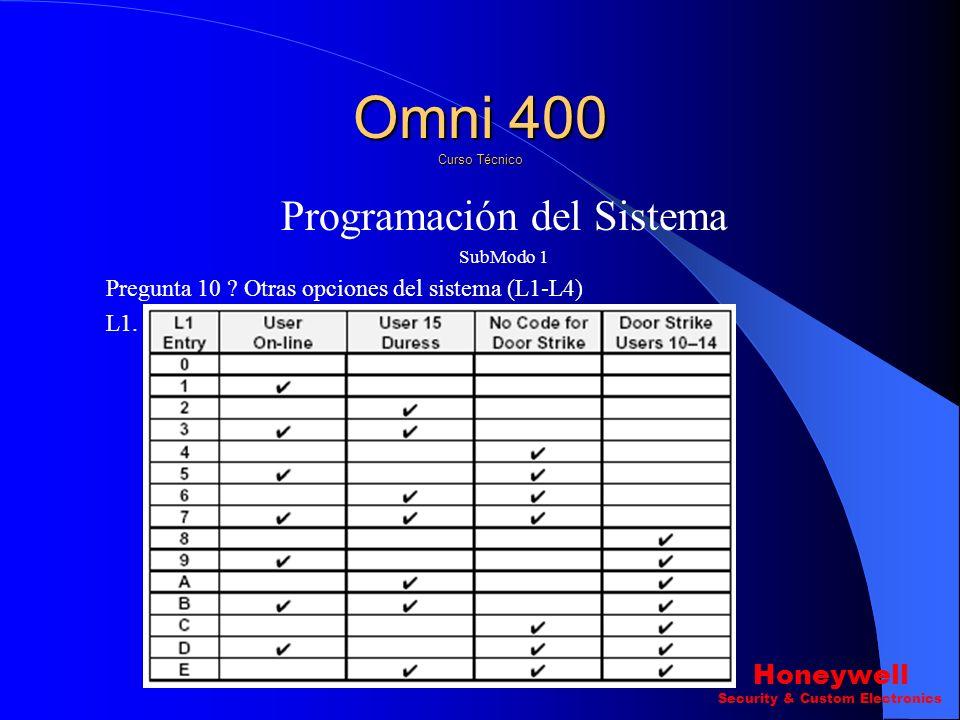 Programación del Sistema SubModo 1 Pregunta 9 ? Opciones del Sistema.(L1-L4) L4. Omni 400 Curso Técnico Honeywell Security & Custom Electronics