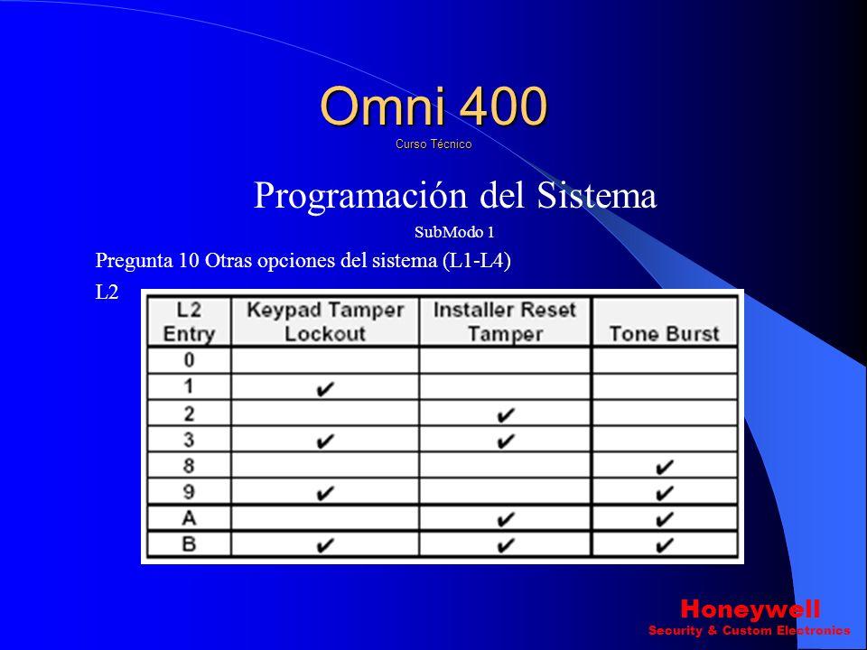 Programación del Sistema SubModo 1 Pregunta 10 ? Otras opciones del sistema (L1-L4) L1. Omni 400 Curso Técnico Honeywell Security & Custom Electronics