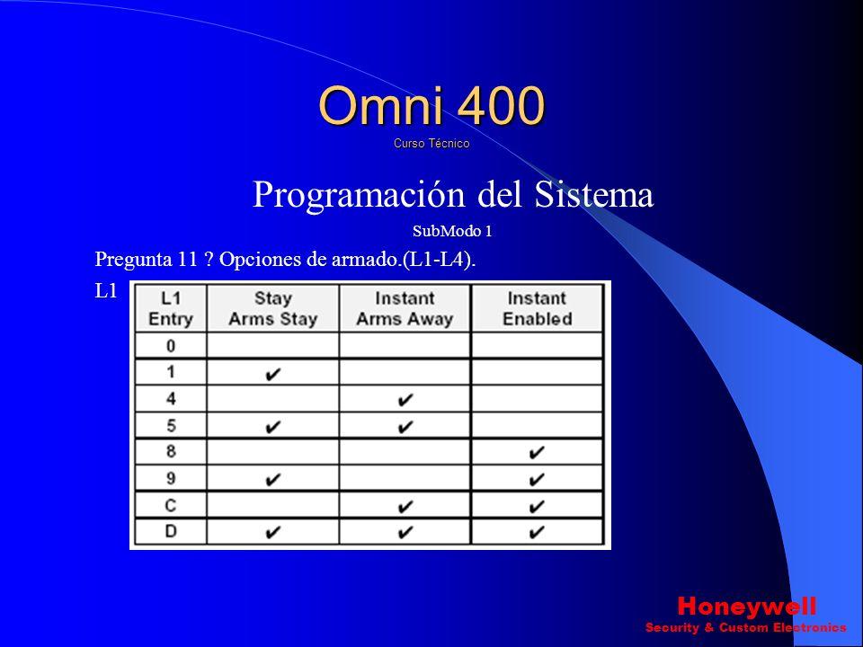 Programación del Sistema SubModo 1 Pregunta 10 ? Otras opciones del sistema (L1-L4) L3 L4 Omni 400 Curso Técnico Honeywell Security & Custom Electroni