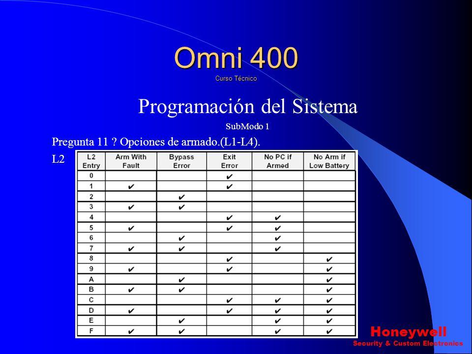 Programación del Sistema SubModo 1 Pregunta 11 ? Opciones de armado.(L1-L4). L1 Omni 400 Curso Técnico Honeywell Security & Custom Electronics