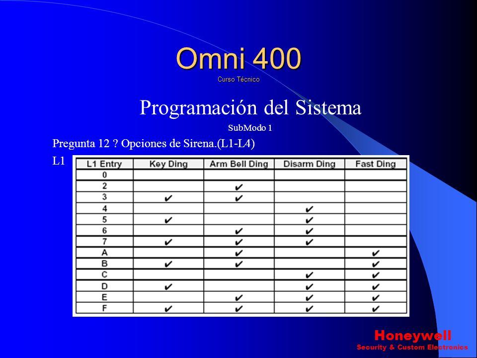 Programación del Sistema SubModo 1 Pregunta 11 ? Opciones de armado.(L1-L4). L4 Omni 400 Curso Técnico Honeywell Security & Custom Electronics